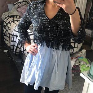 Zara Multicolored Contrast Tweed Shirt Blouse